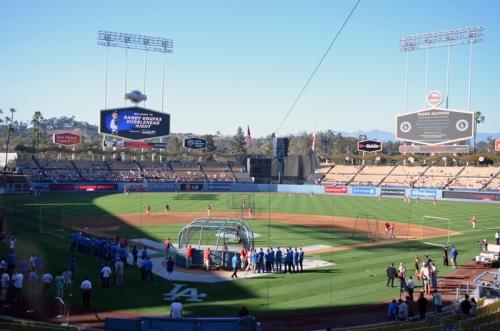 Dodger Stadium in the sunlight.