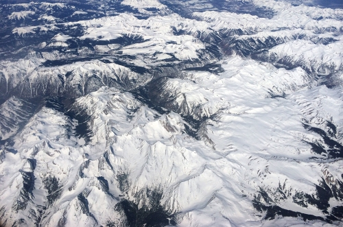 The Rocky Mountains viewed from above.